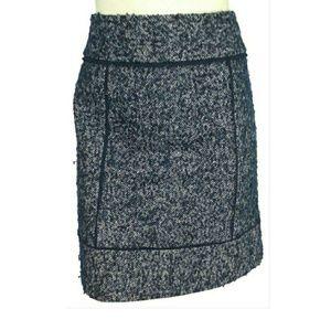 Halogen Speckled Tweed Pencil Fray Trim Skirt